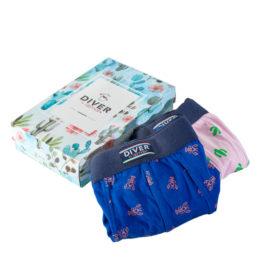 Caixa decorativa blau amb motius florals i cactus amb dos boxers calçotets. Un blau amb gambes vermelles i un altre rosa clar amb cactus.