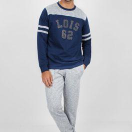 Pijama de home de Lois tipus xandall amb samarreta blava i lletres brodades i amb pantalons grisos