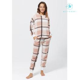 pijama a quadres rosa calentet llarg amb puny en els pantalons