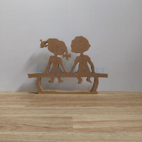 Silueta de madera niños