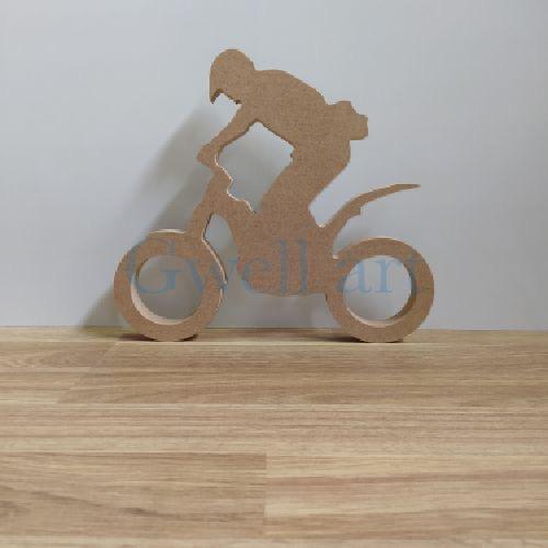 Silueta de madera moto trial