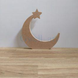 Silueta de fusta lluna