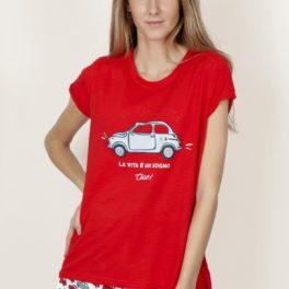 Pijama estiu dona vermell amb cotxe