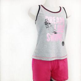 Pijama samarreta imperi gris i pantalons curts rosa