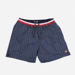 Banyador d'home estil Denim blau marí ratllat amb butxaques laterals i un de posterior