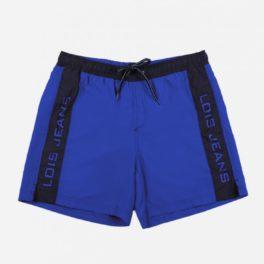 Banyador home blau amb bandes blaves als lados.Estilo esportiu.